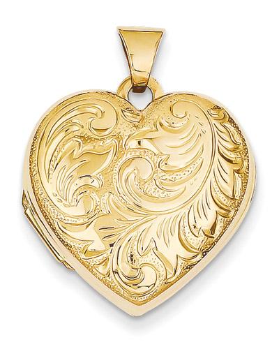 Paisley Heart Locket, 14K Gold