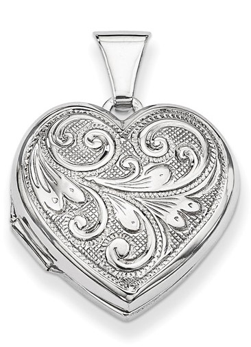 Paisley Scrollwork Heart Locket Pendant Necklace
