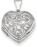 Paisley Scrollwork Heart Locket Pendant Necklace