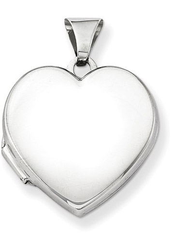 Plain Polished Heart Locket Necklace