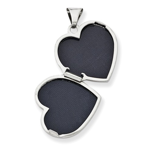 plain polished heart locket necklace open