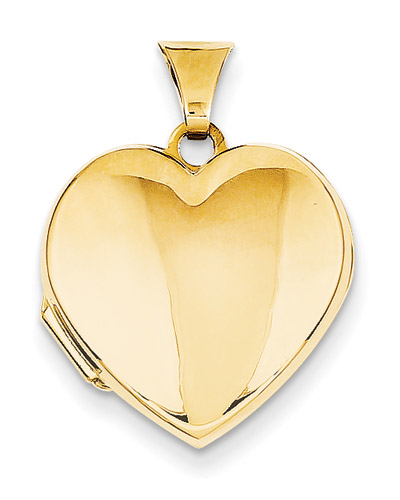 Plain Heart Locket, 14K Gold