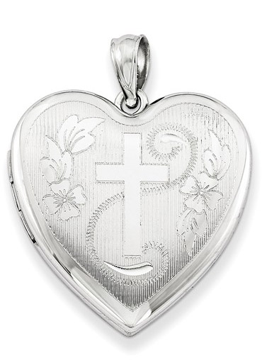 Heart and Cross Locket Necklace, Sterling Silver