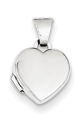 Small 14K White Gold Heart Locket