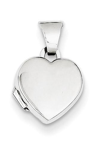 Small 14K White Gold Heart Locket