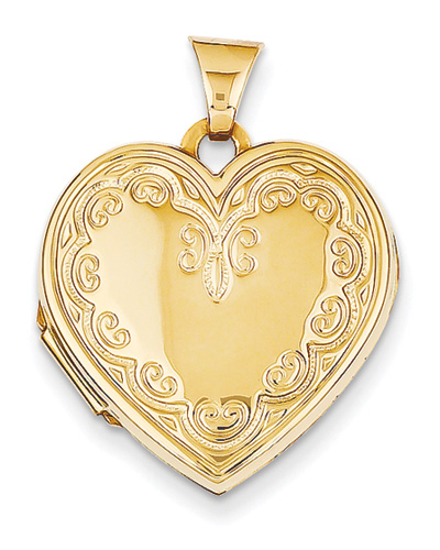 Victorian-Style Heart Locket in 14K Gold