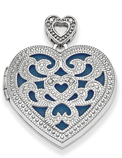 Vintage-Inspired Heart Locket Pendant with Diamonds in Sterling Silver