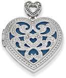 Vintage-Style Heart Locket Pendant with Diamonds in Sterling Silver