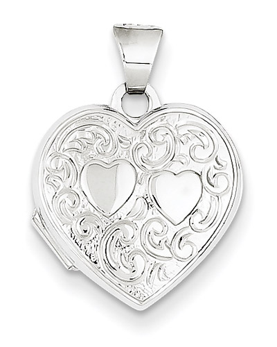 2 Hearts 14K White Gold Heart Locket