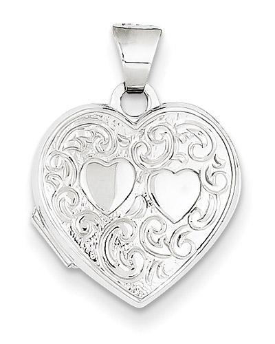 2 Hearts 14K White Gold Heart Locket