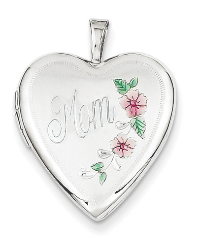 14K White Gold Mom Heart Locket with Enameled Flowers