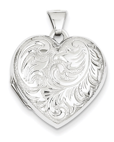 14K White Gold Paisley Scroll Work Heart Locket