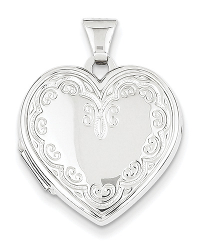 14K White Gold Victorian-Style Heart Locket