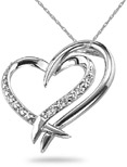 2 Hearts Connect As 1 Diamond Necklace in Sterling Silver