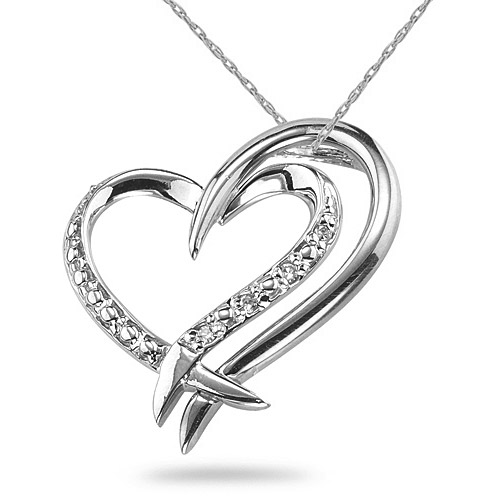 2 Hearts Connected Diamond Necklace, 14K White Gold