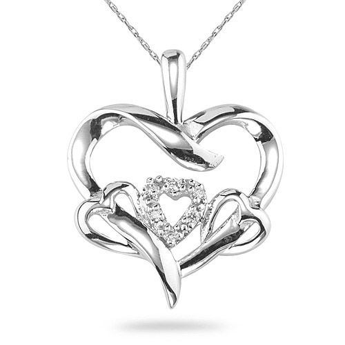 3 Hearts in 1 Diamond Heart Necklace, 14K White Gold