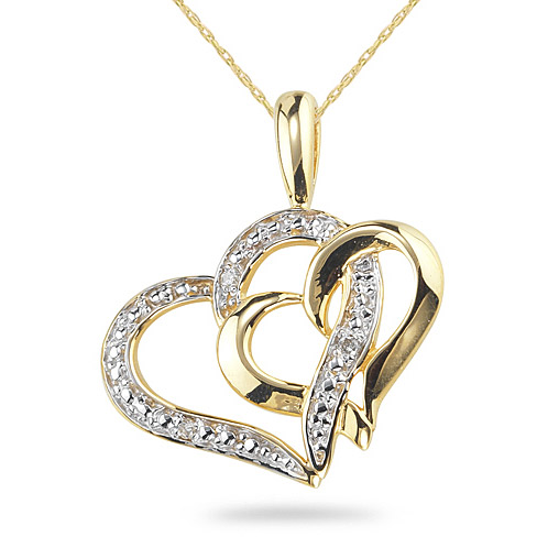 Double Heart Diamond Necklace, 14K Gold