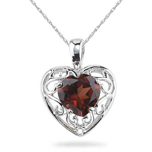 Garnet Heart and Diamond Pendant, 14K White Gold