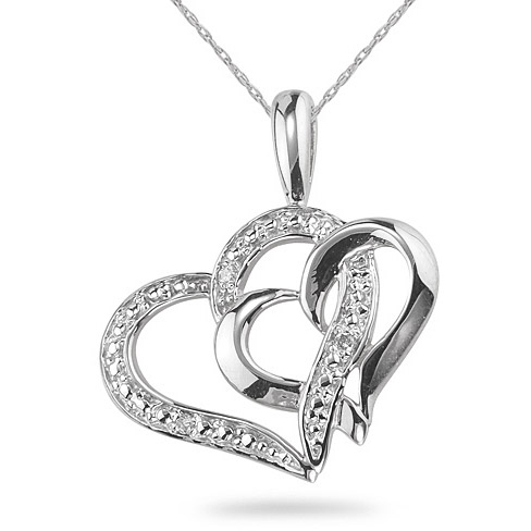 Heart Within a Heart Diamond Pendant, 14K White Gold