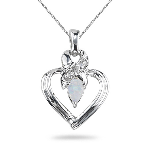 Opal and Diamond Heart Pendant