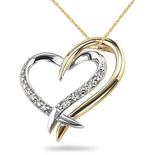 Two Hearts Connect Diamond Necklace in 14K White & Yellow Gold