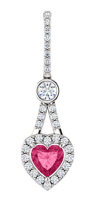 0.53 Carat Diamond Halo Swarovski Pink Topaz Heart Pendant