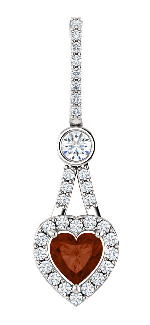 1/2 Carat Diamond Halo 6x6mm Heart Shaped Garnet Pendant, 14K White Gold