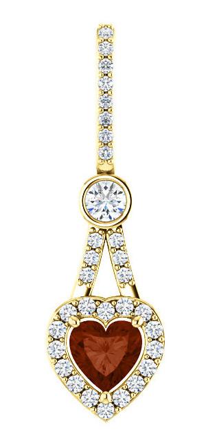 1/2 Carat Diamond Halo Heart Shaped Garnet Pendant, 14K Yellow Gold