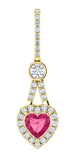0.53 Carat Diamond Swarovski Pure Pink Topaz Heart Pendant, 14K Gold