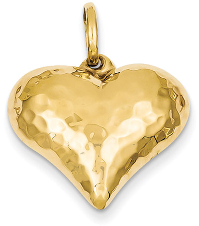 Hammered Heart Pendant, 14K Gold