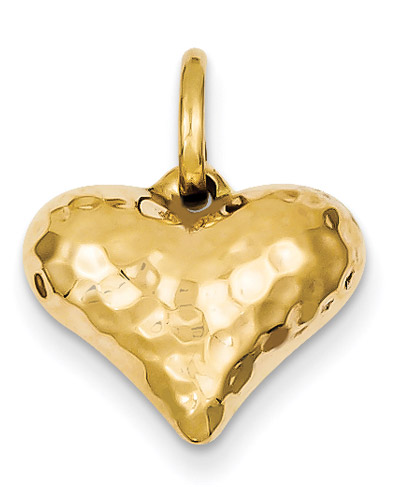 14K Gold Hammered Heart Pendant