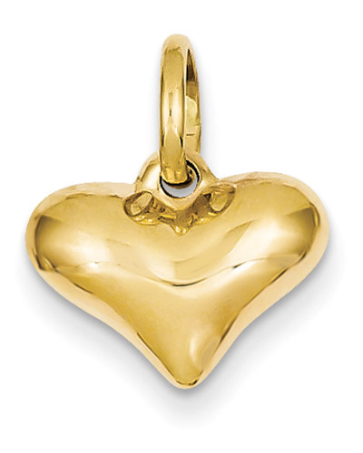 14K Gold Puffed Heart Pendant