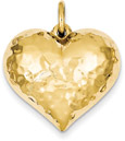 Large Hammered 14K Gold Heart Pendant
