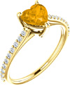 Honey-Citrine Heart-Shaped Ring in 14K Yellow Gold