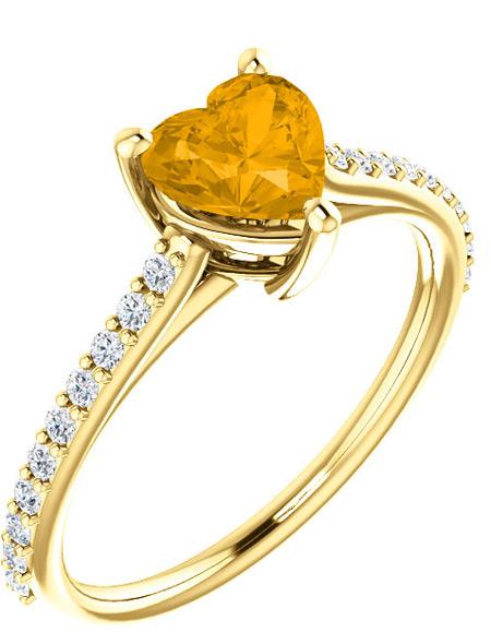Honey-Citrine Heart-Shaped Ring in 14K 14K Yellow Gold