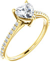 Always in Love White Sapphire Heart Ring in Yellow Gold