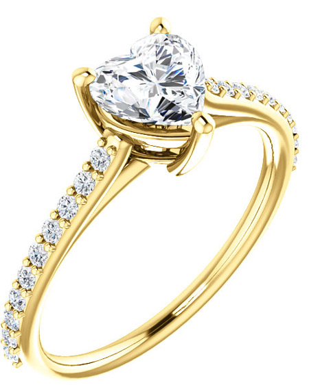 Crystal-Clear Heart-Shaped CZ Ring in 14K Yellow Gold