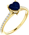 Azure Blue Heart-Cut Sapphire and Diamond Ring in Yellow Gold