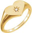 Single Diamond Heart Ring, 14K Yellow Gold