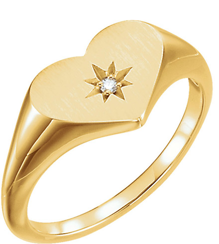 Single Diamond Heart Ring, 14K Yellow Gold
