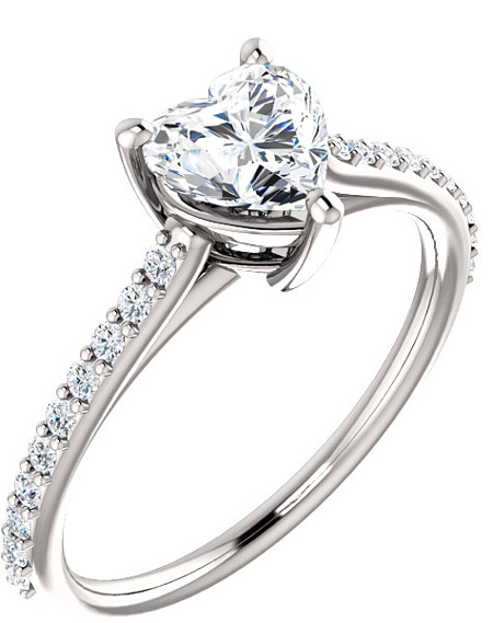 Bright Winter-White Heart-Cut Cubic Zirconia Ring in 14K White Gold