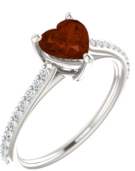 Red Auburn Heart-Cut Mozambique Garnet and Diamond Ring