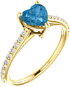 Heart of Gold Swiss-Blue Topaz Diamond Ring in 14K