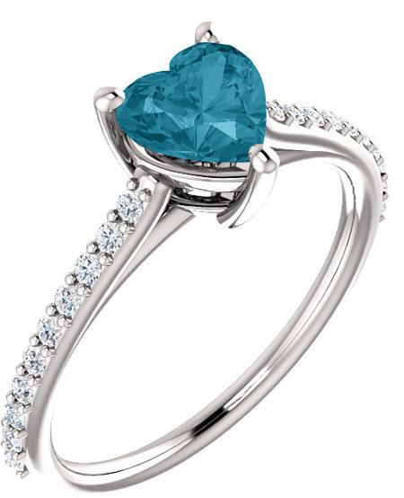 Heart-Shaped Stone-Blue London Topaz Diamond Ring in White Gold