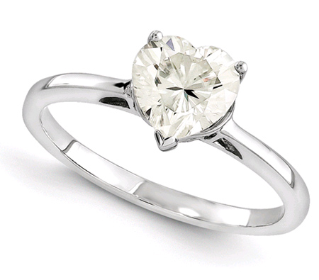 Heart-Shaped Moissanite Solitaire Ring in 14K White Gold