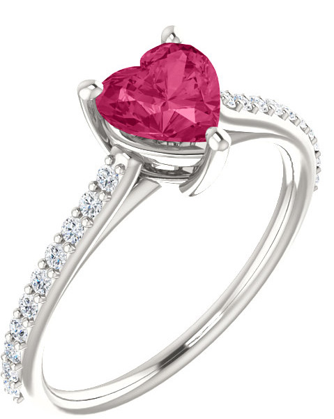 Heart-Shaped Pure Pink Topaz Diamond Ring in White Gold