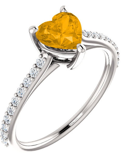Butterscotch Citrine Heart-Shaped Ring with 1/5 Carat of Diamonds