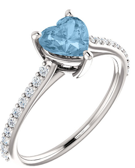Loving Heart Sky-Blue Topaz and 1/5 Carat Diamond Ring in White Gold