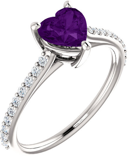 Purple Heart Amethyst and Diamond Ring in White Gold