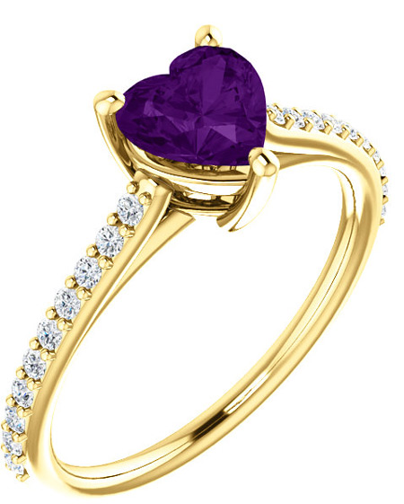 Real Purple Amethyst Heart and Diamond Ring in Yellow Gold